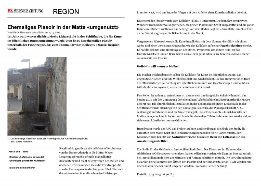 Bern: Ehemaliges Pissoir in der Matte «umgenutzt» - News Regio